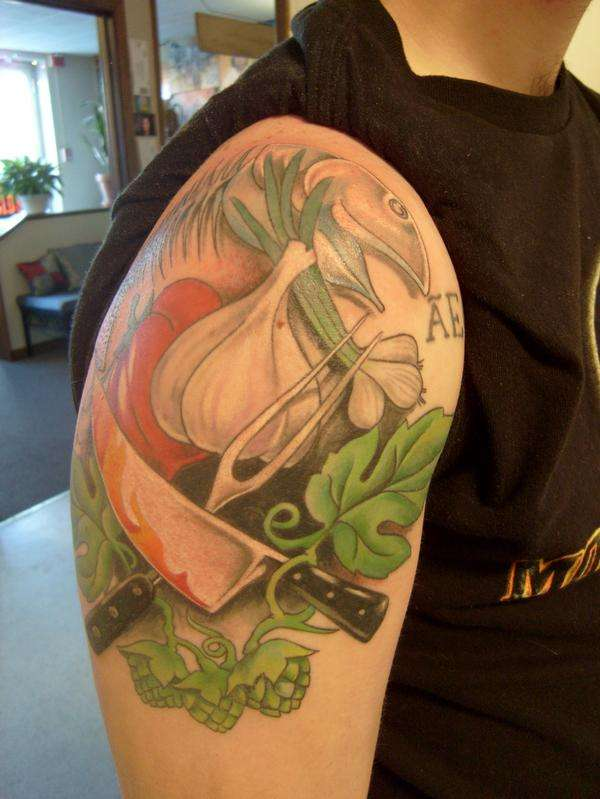 chef tattoo tattoos culinary knife food sleeve cooking shoulder colorful symbol tatoos inspired taters leg finish vegetables awesome right navy
